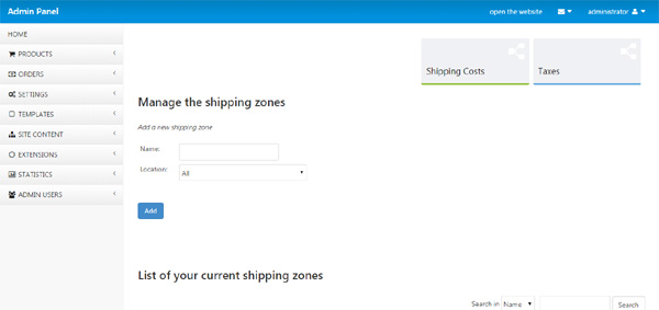 shipping zones and costs atn store php script