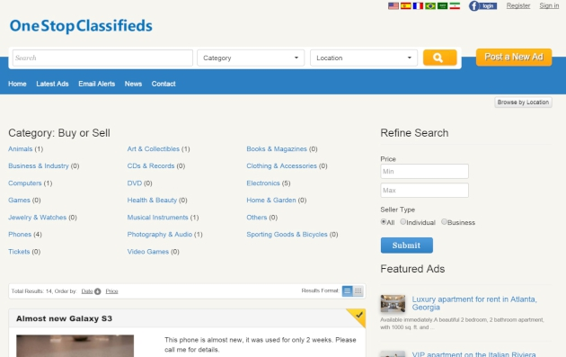 browsing the ads by location php classified software