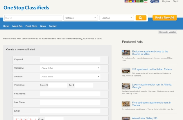 email alerts creation php classified software