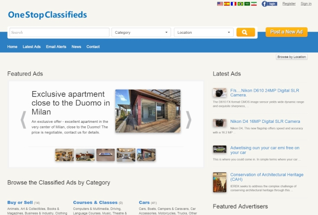 home page of the front site php classified software