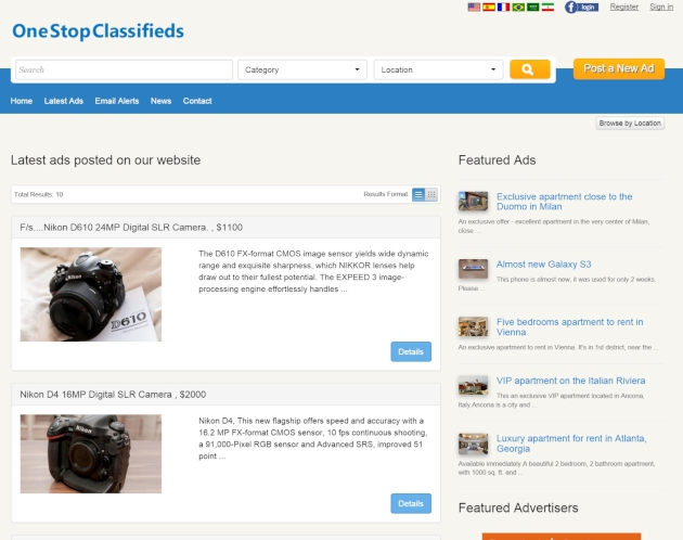latest ads page php classified software