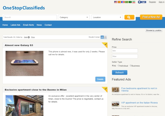 list format of the search results php classified software
