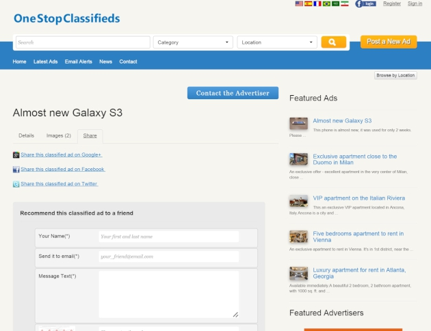 sharing the classified ads on social networks php classified software