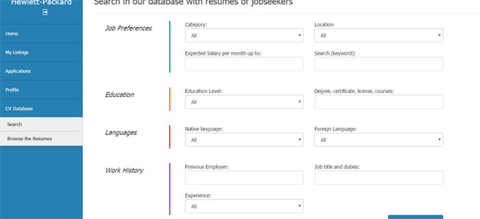 searching in the resume database jobs php script