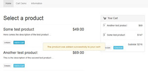 free and easy to integrate ajax responsive shopping cart script