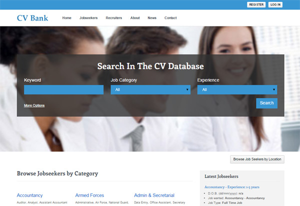 The Home Page Of The Main Site (default Template) Resume Finder Php Script  Resume Finder
